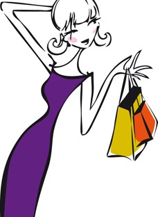 dessin_femme_shopping